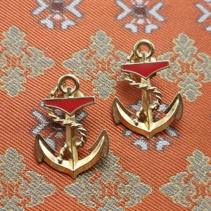 Vintage gold red enamel anchor sailor stud nautica